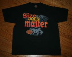 Vintage Harley Davidson Motorcycles SIZE DOES MATTER T-Shirt racing tee-Men's XL
