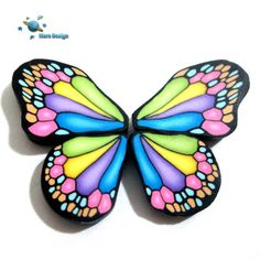 Polymer clay RAINBOW BUTTERFLY WING canes -by Mars