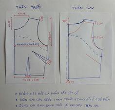 Chart may váy rất cần thiết cho người may không chuyên. Đây là hướng dẫn chi tiết mà còn giúp họ may vá được dễ hơn. Xem các chart may váy đơn giản nhé. T Shirt Sewing Pattern, Pattern Drafting, Top Pattern, Sewing Lessons, Sewing Hacks, Sewing Projects, Techniques Couture, Sewing Techniques, Pattern Cutting