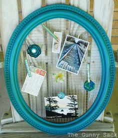 Framed Wire Memo Board--lovely color of teal...Krylon, satin finish, teal color over the primer