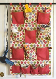 DIY organizer pattern. for hanging in bathroom or closet.