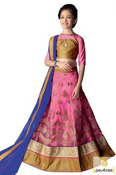 Buy #Pink Blue Color Brocade Lehenga Choli Online For #Kids #kidswear, #kidscholi, #utsavfashion, #partysuits, #kidsdresses, #kidsbridalcollection, #onlineshopping  http://www.pavitraa.in/store/kids/?utm_source=pk&utm_medium=pinterestpost&utm_campaign=16Feb