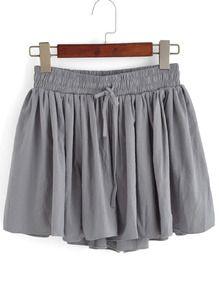Drawstring Pleated Grey Shorts