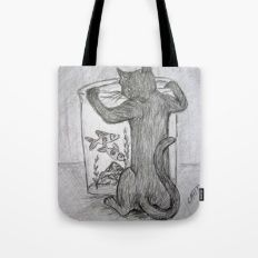 Curious Cat and the Goldfish Drawing Tote Bag