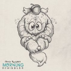 A long winter made this critter a little nuts in the head.  #morningscribbles