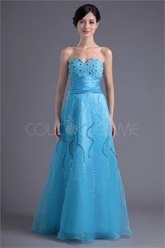 Robe de bal bleu spéciale décoration perlée/pailletée en organza et satin de soie