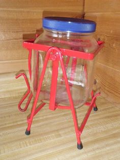 Vintage SQUARE GLASS WIDE MOUTH JAR Red Metal Tip Stand CANDY COOKIE Dog Biscuit