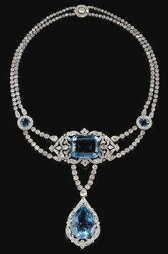 FINE AND IMPORTANT AQUAMARINE AND DIAMOND NECKLACE, CARTIER, 1912. In the garland style, centring on a cushion-shaped aquamarine within an openwork scroll frame of millegrain-set circular-cut diamonds, suspending a similarly set pear-shaped aquamarine drop, to a necklace designed as two graduated lines of circular-cut diamonds accented with a pair of circular aquamarine links, signed Cartier Paris, length approximately 380mm.