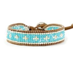 Lotus Mann seven rows of ultra-small turquoise blue particles and qualities of leather cord woven lap bracelet