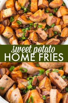 Sweet Potato Home Fries - A mouthwatering side dish with only three ingredients: sweet potatoes bacon and green onions! Sweet Potato Home Fries, Savory Sweet Potato Recipes, Cubed Sweet Potatoes, Side Dishes Easy, Vegetable Side Dishes, Side Dish Recipes, Dinner Dishes, Food Dishes, Cooking Recipes
