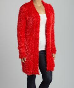 Loving this Red Fuzzy Open Cardigan - Plus on #zulily! #zulilyfinds