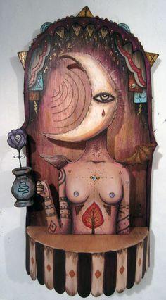 "Brandan Styles, ""Nyx Goddess of the Night"", Acrylic on Handcut Wood"