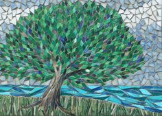 """Custom Made Stained Glass Mosaic Tree Art """"Somewhere Only We Know'' Mosaic Artwork, Mosaic Wall Art, Tile Art, Mosaic Crafts, Mosaic Projects, Art Crafts, Mosaic Designs, Mosaic Patterns, Stained Glass Art"""