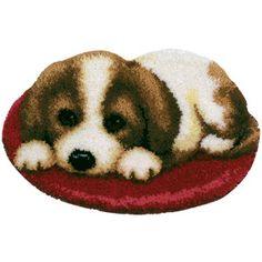 Cute Puppy - latch hook rug kit Russian Embroidery, Homemade Rugs, Rya Rug, Latch Hook Rug Kits, C2c, Rug Hooking, Crochet Hooks, Needlepoint, Puppies