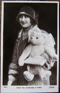 Original postcard of Duchess of York (Queen Mum) with Farnell teddy bear