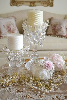 Jennelise: Ribbons, Roses, and Pearls Candle sticks, small bowl, wired beads, crystals