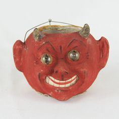 Amazing early devil/pumpkin jack-o-lantern. **Excellent condition with no cracks or crazing, just minimal wear on the flocking. **Made in Germany in