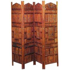 Carved Wood Room Divider in Four Panel Screen
