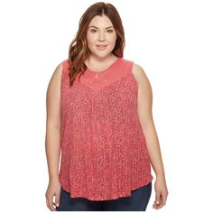 Lucky Brand Plus Size Paisley Crochet Tank Top (Red Multi) Women's... ($41) ❤ liked on Polyvore featuring plus size women's fashion, plus size clothing, plus size tops, spaghetti-strap tank tops, red tank top, sleeveless tank tops, lace tank top and lace sleeveless top