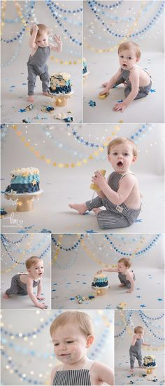 lots of emotions of baby Jack turning one - messy baby during 1st birthday cake smash session