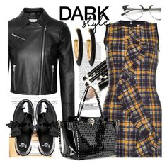"""Black"" by cilita-d ❤ liked on Polyvore featuring MSGM, Elizabeth and James, Kershaw, Christian Dior, Dr. Martens, Concord, Chico's and Valentino"
