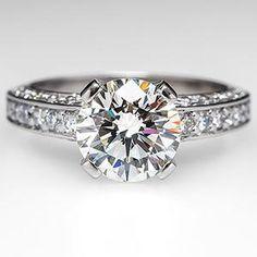 2 Carat Diamond Engagement Ring w/ Accents in Platinum
