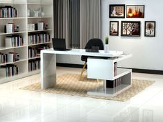 Home office printer storage ideas home office desk with printer storage corner best modern desks for . home office printer storage ideas Mesa Home Office, Modern Home Office Desk, White Desk Office, Home Desk, Home Office Furniture, Contemporary Office Desk, Modern White Desk, Corner Office, Contemporary Chairs