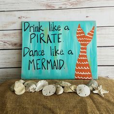This custom mermaid / pirate sign measures approx 14 x 10 All signs are made to order so I can acco Vintage Beach Signs, Beach Signs Wooden, Beachy Signs, Patio Signs, Pool Signs, Tiki Bar Signs, Pirate Signs, Tiki Bar Decor, Beach Quotes