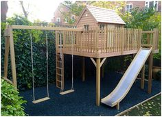 Treehouse x platform with slide access and double swing Treehouse 10 x 8 platform with slide access and double swing