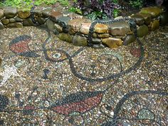 """Pebble mosaic using Miro inspired design for clients in Portland, Oregon. """"Cyphers and Constellations in Love with a Woman"""" by Jeffrey Bale. jeffreygardens.blogspot.com"""