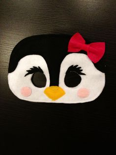Penguin mask. Available for purchase. Penguin Birthday, Penguin Party, Penguin Craft, Diy Costumes, Halloween Costumes, Animal Masks, Animal Projects, Childrens Party, Art Plastique