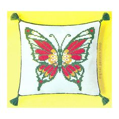 Cross Stitch Pattern Butterfly Pillow Embroidered Pillow 12 x 13 Cushion Home Decor Pattern Instant Download PDF E01 by DigitalPatternShop on Etsy