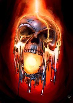 Molten Metal by Jessimie on DeviantArt Fantasy Kunst, Dark Fantasy Art, Dark Art, Gif Terror, Grim Reaper Art, Badass Skulls, Totenkopf Tattoos, Skull Pictures, Metal Skull