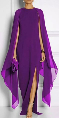 Cape Sleeve High Slit Plain Chiffon Maxi Dress purple s - SKU Collar & neckline Round Neck Embellishment High Slit Material Chiffon Occasion Party , Event Pattern Type Plain Season Summer Dress Silhouette Fitted Weight Chiffon Maxi Dress, Maxi Dress With Sleeves, Dress Up, Maxi Dresses, Plain Dress, Cape Dress, Dress Long, Lace Maxi, Maxi Skirts