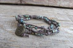 Triple Wrap Knotted Leather Bead Bracelet