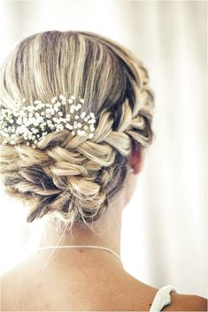 Beautiful wedding updo with a braid and baby's breath bridal hair, wedding hairstyles, most Trending Hairstyles, Up Hairstyles, Braided Hairstyles, Bridesmaid Updo Hairstyles, Bridesmaids Updos, Hairstyle Braid, Hairstyle Ideas, Babys Breath Hair, Plaits
