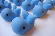 Edible Whale Cupcake Toppers - Whales - Fondant Cupcake Decorations from CakesAndKids on Etsy. Saved to Edible Fondant Cupcake Toppers. Fondant Cupcakes, Fondant Toppers, Cupcake Cookies, Fondant Figures, Whale Party, Ocean Party, Whale Decor, Fondant Animals, Cup Cakes