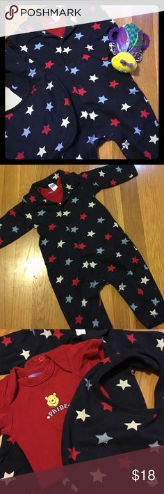 EUC Baby GAP One-Piece w/Matching Bib Sz 3-6M Super Cute 3-Piece Bundle. Excellent Condition! Navy One-Piece w/Red, White and Lite Blue Stars. Perfect for Memorial Day, Veteran's Day, Patriot/Patriot's Day and even the 4th of July🇺🇸 Matching bib w/navy terry cloth on the back. Winnie the Pooh Red Onesie is perfect underneath🇺🇸 No rips, holes or stains!! Please feel free to ask questions...🇺🇸 GAP One Pieces