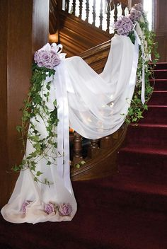 Sheer Organza Fabric Table Swags for Wedding Party Chair Bows Stair Decor Wedding Staircase Decoration, Wedding Stairs, Ceremony Decorations, Wedding Ceremony, Wedding Venues, Arch Decoration, Flower Decorations, Purple Wedding, Wedding Flowers