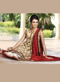 Striking Cream Churidar Suit | Salwar Kameez | www.cbazaar.in