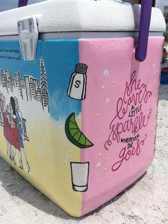 tequila shot cooler corner Sorority Canvas, Sorority Paddles, Sorority Crafts, Sorority Recruitment, Diy Cooler, Coolest Cooler, Beer Cooler, Fraternity Coolers, Frat Coolers