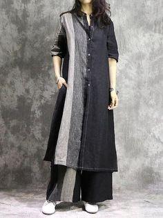 design of blouse Vintage Split-joint Long Blouse&Pants Suit uoozee Muslim Fashion, Hijab Fashion, Fashion Dresses, Fashion Fashion, Spring Fashion, Fashion Women, Fashion Online, Winter Fashion, Fashion Tips