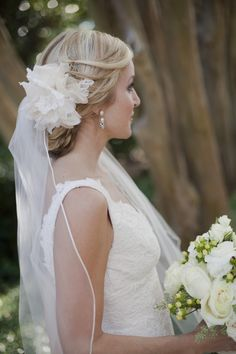 Can so picture this veil on Stephanie, with her hair done up like this. Sweet and simple.