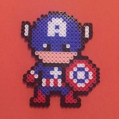 Captain America perler beads by d0ntw0rrybehippie_