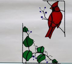 stained glass coins   cardinal bird / stained glass window corner by GLASSCORNER on Etsy, $ ...