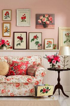 Eye For Design: Decorating Vintage Cottage Style Interiors...apricot instead of pink? different art? solid couch?