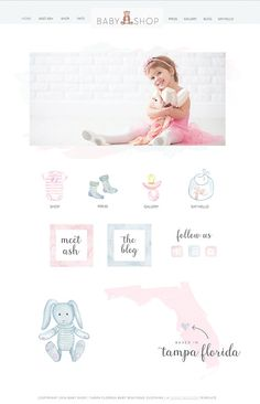 Wix Website design website template baby by SunnyBlossomDesigns