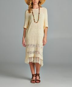 Look what I found on #zulily! Off-White Fringe Hem Dolman Dress #zulilyfinds