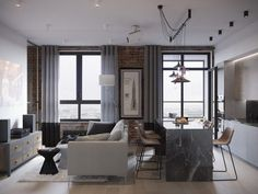 When Nate Berkus and Jeremiah Brent were tasked with redesigning this L. home, they had to somehow make the house less heavy and ornate, and more appropriate for a modern family—something friendly and warm. Condo Living, Home Living Room, Apartment Living, Living Room Designs, Living Spaces, Living Room Inspiration, Interior Design Inspiration, Loft Design, House Design