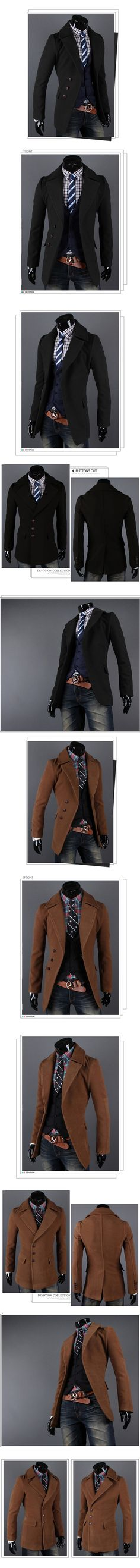 Fashion Men Slim Fit Wool Coat